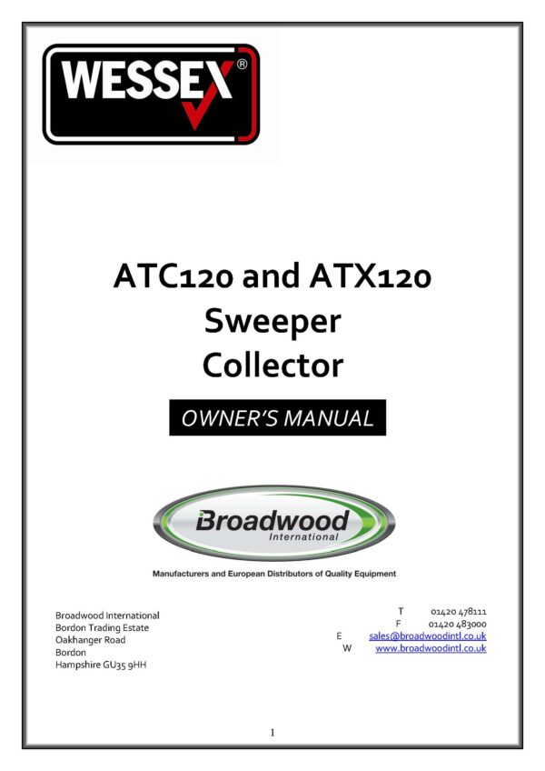 Atc120 and atx120 sweeper collector page 01 - professional groundcare & agricultural equipment