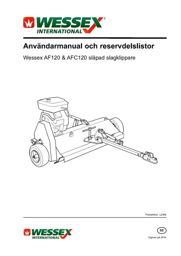 L2002 af120 afc120 flail mower swedish page 01 - professional groundcare & agricultural equipment