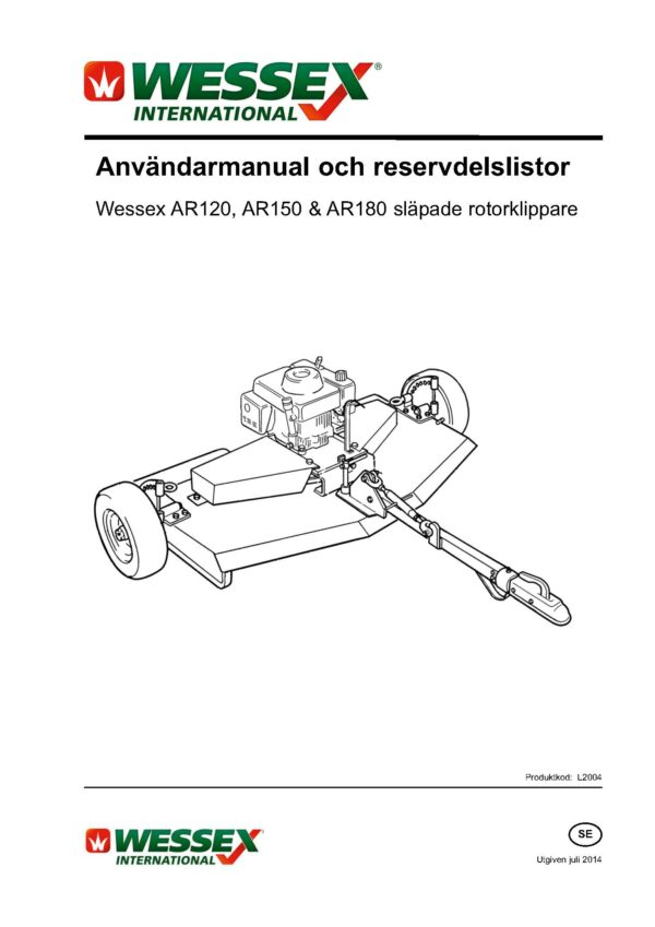L2004 ar 120 150 180 trailed rotary mower swedish page 01 - professional groundcare & agricultural equipment