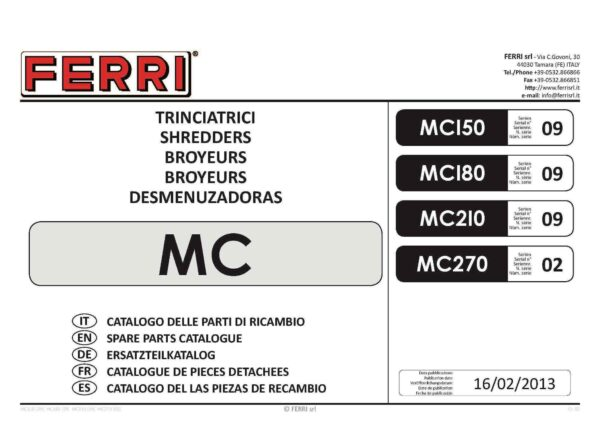 Mc flail parts page 01 - professional groundcare & agricultural equipment
