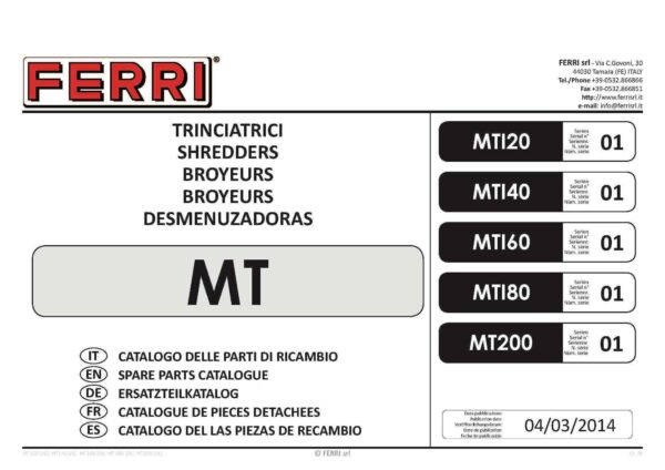 Mt series one parts list page 01 - professional groundcare & agricultural equipment