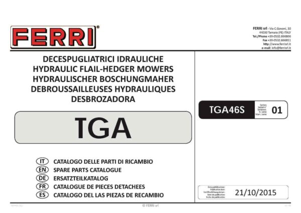 Tga46s series 01 page 01 - professional groundcare & agricultural equipment