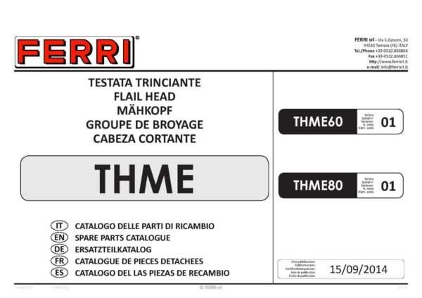 Thme60 flail head parts list page 01 - professional groundcare & agricultural equipment