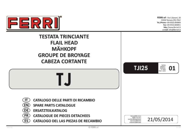Tj spare parts page 01 - professional groundcare & agricultural equipment