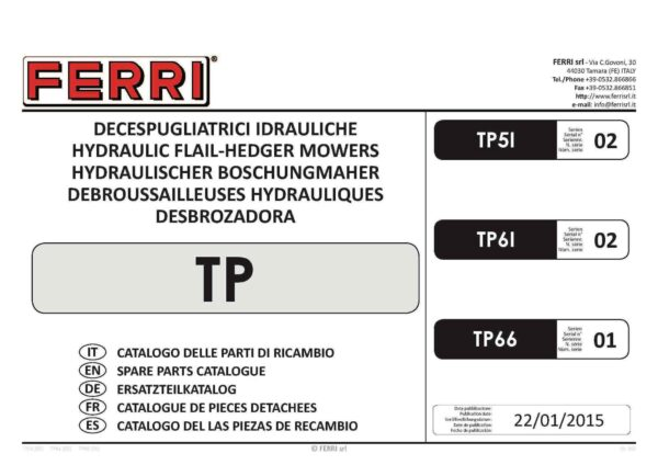 Tp61 series 02 parts manual page 01 - professional groundcare & agricultural equipment