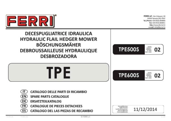 Tpe spare parts page 01 - professional groundcare & agricultural equipment