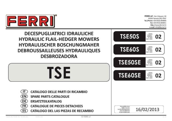 Tse60 serie 02 page 01 - professional groundcare & agricultural equipment